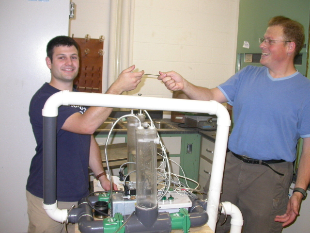 Me and Guillaume working with his pump